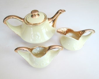 Mid Century Teapot Set // Pearl China Company Yellow 22 KT Gold Trim