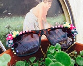 Glam FAiRY SUNGLASSES - Wayfarer Style Brown Leopard Sunnies - Embellished with RHINESTONES and FLOWER Bouquets
