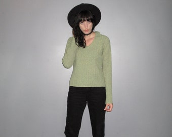 Mint Green Sweater - 90s does 60s Mod Grunge Pastel Wool Blend VTG - Size S/M