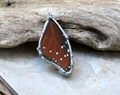 Queen Butterfly Pendant, Real Butterfly Necklace, Brown Butterfly Wing, Nature Necklace