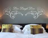 Live Laugh Love Quote, Flourish, Vinyl Wall Art Sticker Decal Mural, Bedroom, Lounge 100cm Wide x 29.9cm High