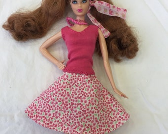 Barbie clothes, Pink floral puffy Barbie skirt, modest Barbie clothes, Barbie skirt, handmade Barbie clothes
