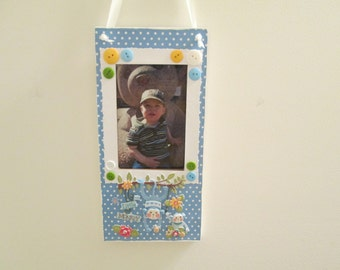 4x6 Boys Monkey Themed - Hand Decorated Hanging Picture Frame