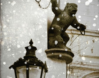 Gargoyle Photograph, Prague Gargoyle Print, Sepia, Gray, White, Bohemian Architecture ,Prague Gothic Winter Scene , 8x8 and up
