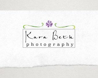 Premade Logo // Logo Design // Business Logo //  Photography Logo // Watercolor Logo // Purple Flower Logo