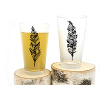 Feather Pint Glasses - Screen Printed Glassware - Set of two 16oz. Pint Glasses - Black and White Ink Imprint Available