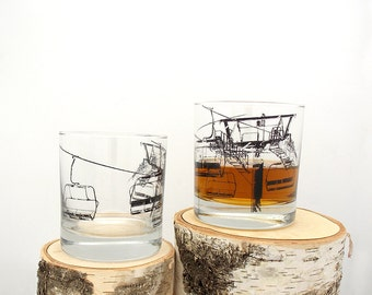 Ski Lift Whiskey Glasses - Set of Two Screen Printed Rock Glasses - 11oz.