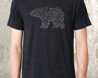 Men's Tri Blend T-Shirt - Bear Made of Triangles - American Apparel Track Tee - Men's Small - 2XL Available