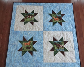 Fast and Easy Quilt Pattern, Batik and Horses Quilt Pattern, Quilted Throw PDF Tutorial, Toddler Quilt pattern, Digital Download