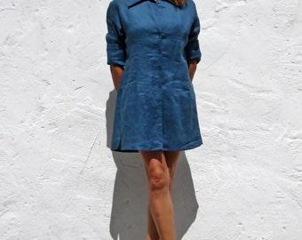 Linen dress linen tunic linen shirt vegan dress blue linen shirt blue linen shirt dress blue linen long shirt linen blouse linen top