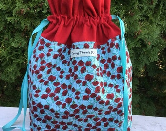 Divided Sock Knitting Project Bag, Interior Zipper Pouch, Drawstring, Red Poppies on Teal