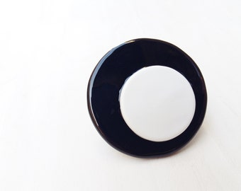 Glass maxi Ring  - big bold oversized statement glass ring - black ring - white ring - maxi round ring