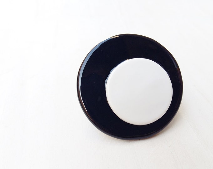 Glass maxi Ring  - big bold oversized statement glass ring - black ring - white ring - maxi round ring
