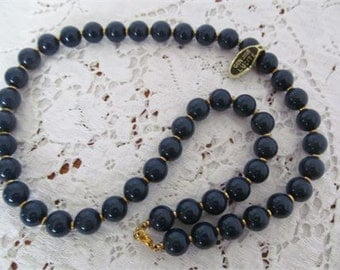 Genuine Lucite Beaded Dark Blue Necklace Gold Tone Spacers 24 inch, Lucite Necklace