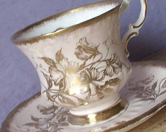 Vintage Morning Glory teacup and saucer, Paragon tea cup, Pale Peach tea cup, gold tea cup, English tea cup, bone china teacup