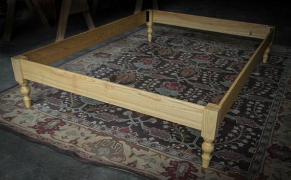 Solid Ash Hardwood Libby Turned Leg Platform Bed