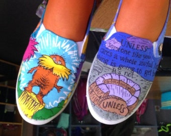 Dr. Seuss inspired hand painted shoes