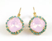 Pink Opal Earrings - Swarovski Crystal Rose Water Opal Turquoise Pave Rhinestones Gold Earrings - Wedding Jewelry Under 40