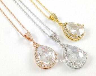 Rose Gold Bridal Necklace - Wedding Jewelry Cubic Zirconia Teardrop Necklace Bridesmaids Gift