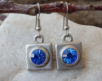 Blue Rhinestone Swarovski Earrings. Halo Blue Gemstone Earrings. Blue Crystal Earrings. Blue Square Earrings. Oxidized Silver Blue Earrings