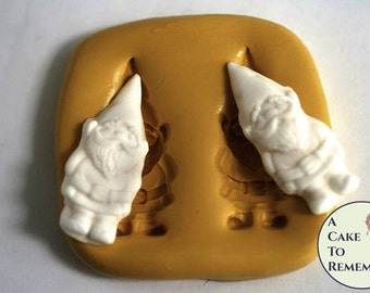 "Fairy garden supplies, 1 1/2"" tall garden gnome flexible silicone mold. Gnome mold for birthday cupcake toppers and cake decorating. M5080"
