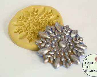 Rhinestone and pearl silicone mold, beaded mold for cake decorating, polymer clay or resin mold, fondant medallion mold M5093