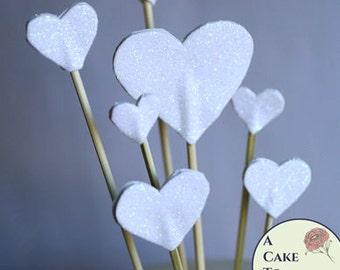 7 White glitter hearts  cake topper, wedding cake topper, valentine's day cakes, birthday cakes