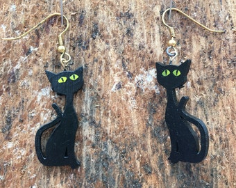 Hand painted wooden cat earrings by Sausage Cats