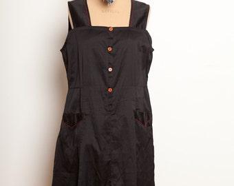 French antic black work dress 1930