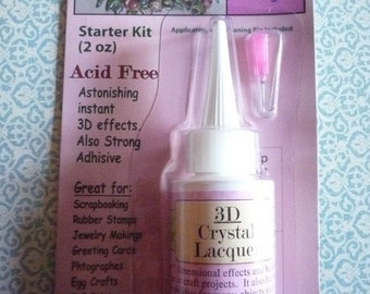 3D Crystal Lacquer - 2 oz Bottle Starter Kit - Metal Fine Tip Applicator & Cleaning Pin - Adhesive - 3D Clear Raised Glossy Effects (245124)