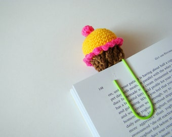 Crochet cupcake crochet bookmark planner clips office gift ideas teacher gift idea paper clip lemon cupcake daily planner accessories yellow