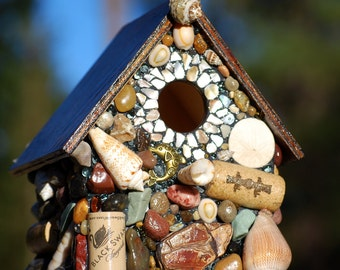 Tropical Mosaic Birdhouse with Ocean agates, Sand Dollar, Sea themed Wine corks, dolphins  beach mosaic garden art pacific ocean art shells