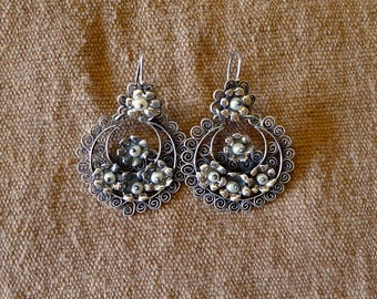 """Mexican filagree silver earrings crescent shaped floral w/pearls feminine wedding engagement frida kahlo drop  1 7/8"""""""