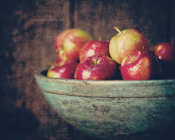 Autumn Decor, Fall Decor, Autumn Kitchen Decor, Rustic Kitchen Art, Apples, Brown Red Teal, Farmhouse Kitchen Print or Canvas Wrap.