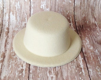 Ivory Mini Top Hat | 5 Inch Wide, 2 Inch Tall Cream Mini Top Hat