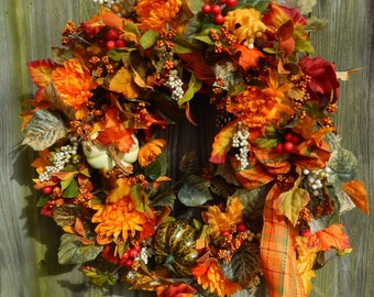Thanksgiving Wreath , Fall Wreath , Door Wreath , Autumn Wreath , Front Door Wreath , On Sale ,  Ready To Ship