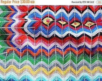 ON SALE Yarn Pillow Sham - Needlework Pillow - Vintage Chevron Pillow - Zig Zag Pillow - Rainbow Pillow