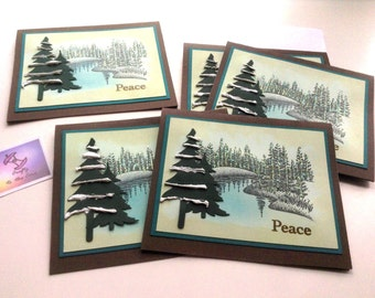 5 handmade winter scene note cards, Blank all occasion, Holiday Christmas, Peace, Rubber stamped