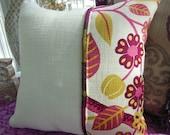 Bohemian Chic Pillow - Magenta Pillow -  Fuchia Pillow - Boho Pillow - Leaf Pillow - Basketweave Fabric Pillow - Ivory Pillow - Gypsy Pillow