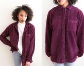 Soft Purple Corduroy Pocket Shirt / 90s Grunge Burgundy Button Up Flannel / Thin Long Sleeve Button Down Collared Blouse / Velvet Oversized