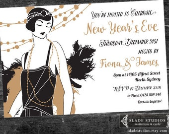 New Years Eve Party Invitation. Featuring 1920s Great Gatsby Flapper Girl illustration. Printable. Black and Gold; Silver and Black.
