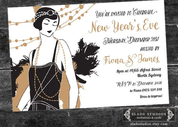 New Years Eve Party Invitation Featuring 1920s Great Gatsby – New Years Eve Party Invitations