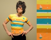 vintage 60s short sleeve sweater sailboat clouds blue sun striped scoop neck 1960 yellow orange blue nautical top small S