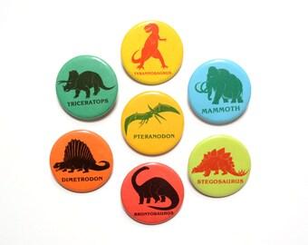 "vintage 80s Dinosaur pin pinback badge bright color 1983 Brontosaurus Tyranosaurus Triceratops Stegosaurus Mammoth 1.75"" button"