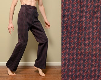 mens vintage 70s pants 1970 vintage funky pattern checkered flare slacks red blue trousers Haggar double knit polyester 34x33 34 waist