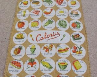 Towel Vintage Calorie Counter Food Cotton Linen Kitchen Hand Towel