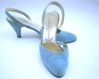 Vintage Blue Suede Ladies Slingback Shoes Sandals Pumps Charles Jourdan Designer Womens Shoes Size 7 Blue Suede Shoes Baby Pastel Emiliene