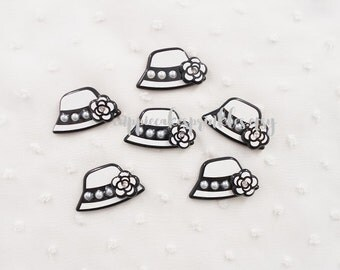5pcs - Kitschy Fancy Designer Pearl Camellia Hat Decoden Cabochon (33x20mm) CH10031