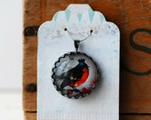 """Red Breasted Bird Wearing Crown Vintage Inspired Brass and Glass Bubble Necklace (#27) - """"Rozie Series"""""""
