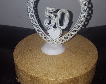 50th Gold Anniversary  Birthday Cake Topper Golden 5 inch